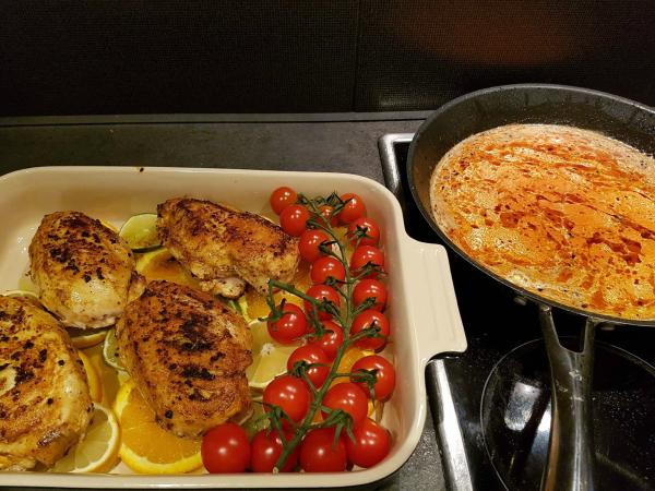 Citrus & kylling i form….