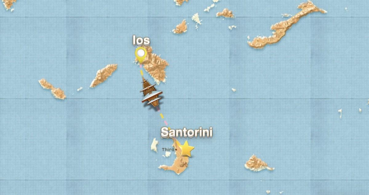 Øyhoppingen vår starter i år fra Santorinig. Jennifer Moi & Sydenbarna