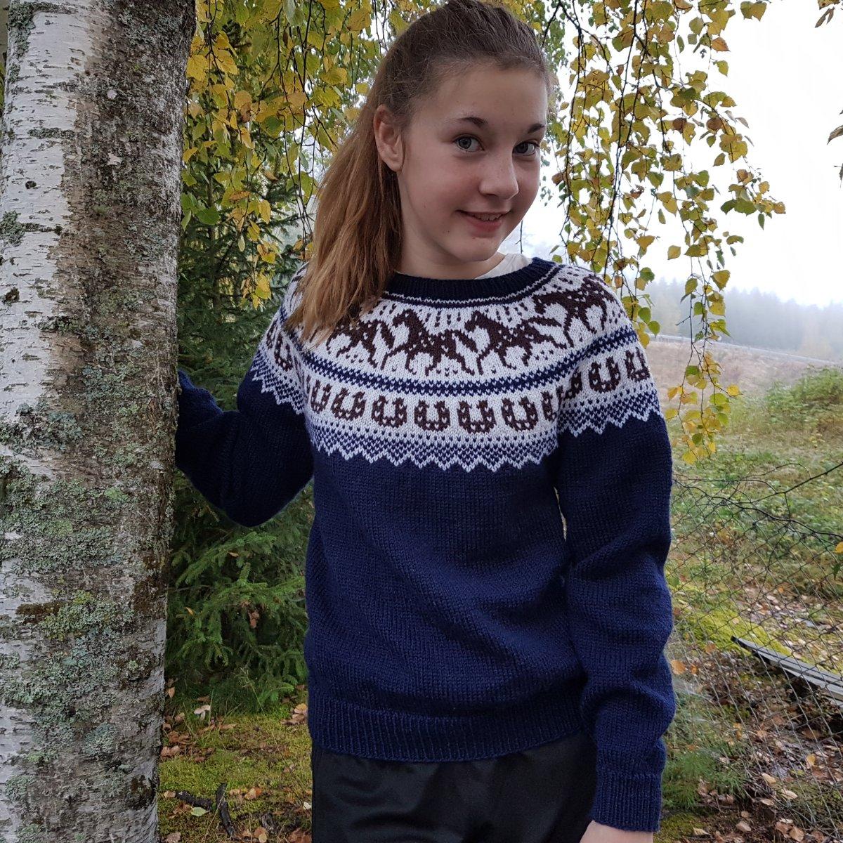 oppskrift på strikke genser med hest