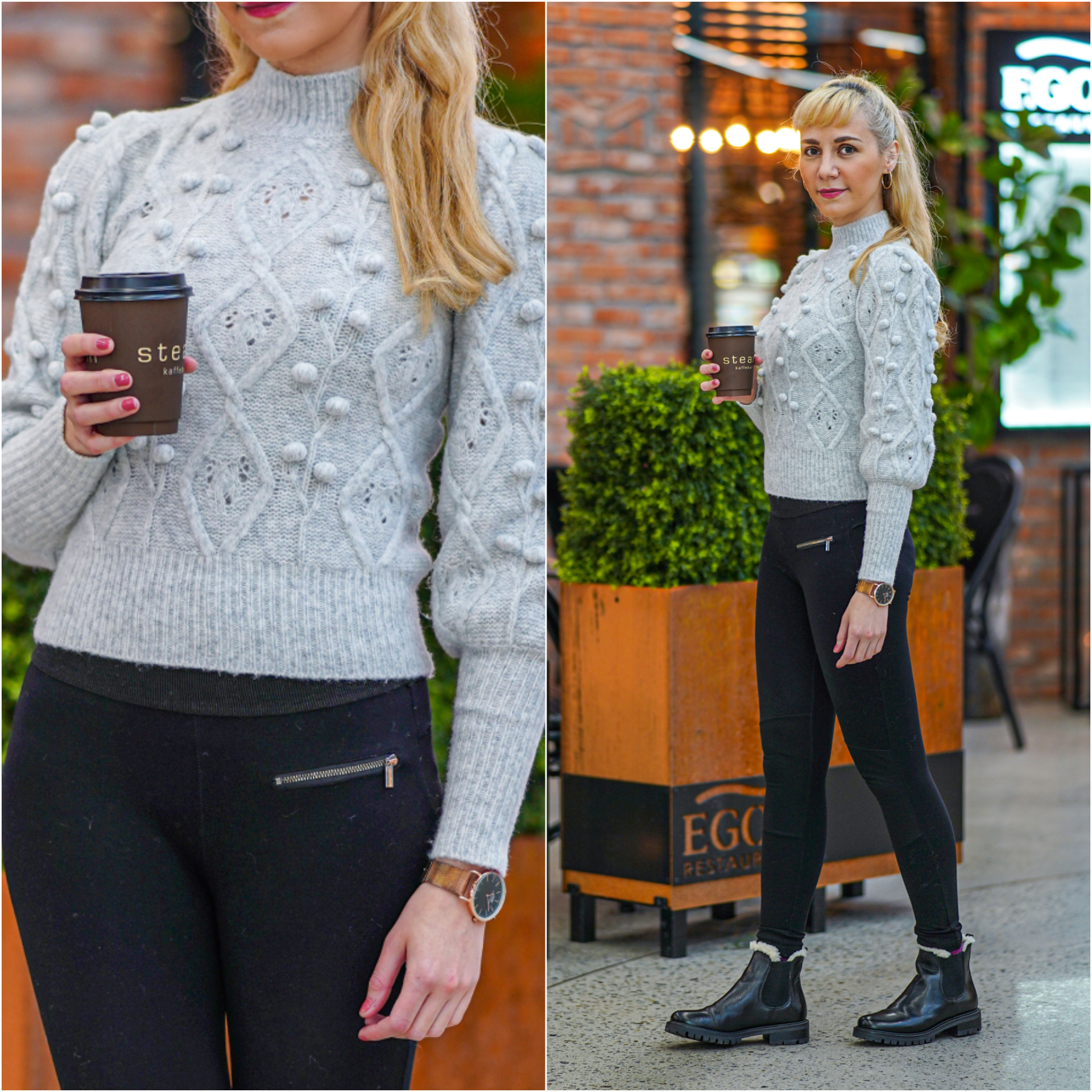 grå genser outfit