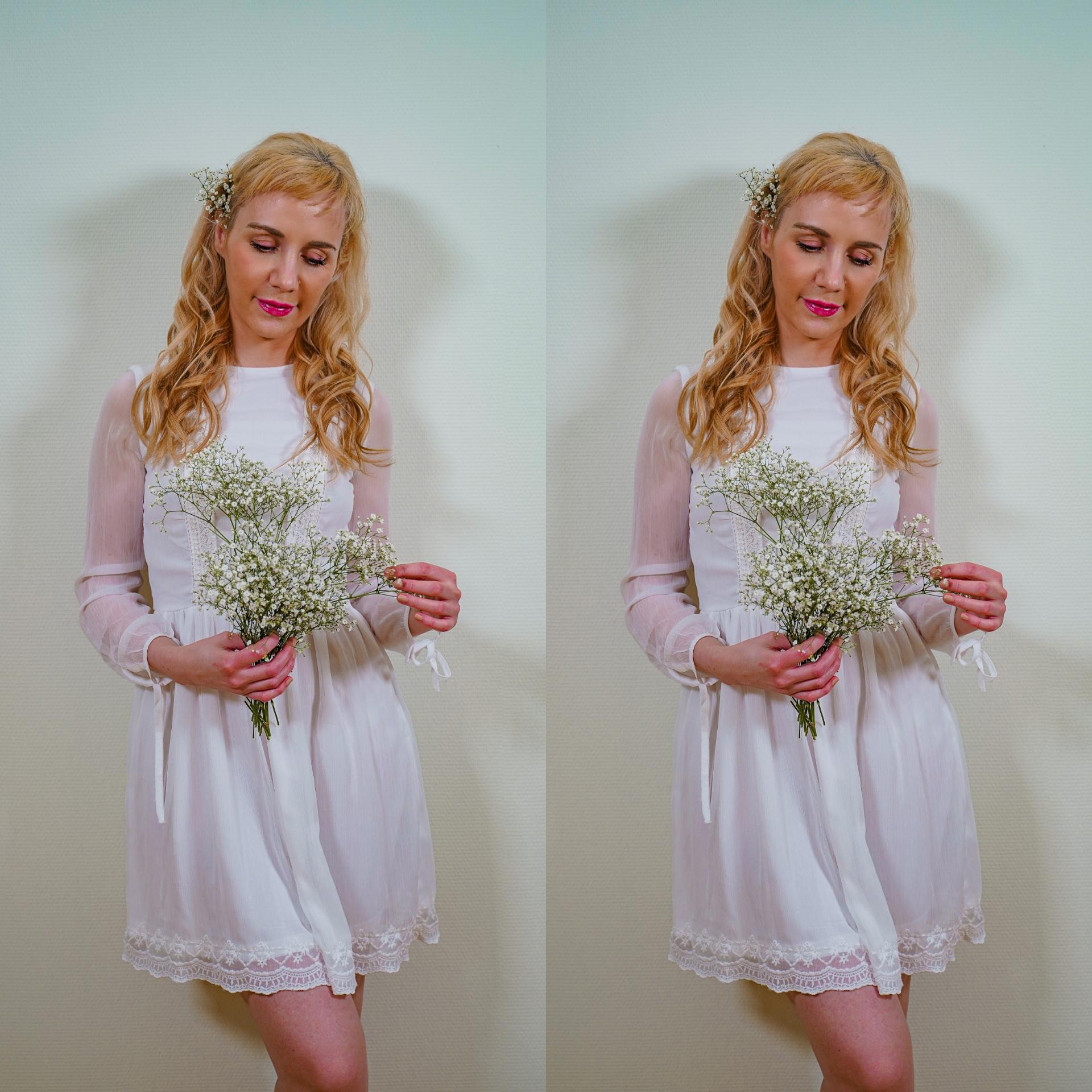 Hvit kjole blomster