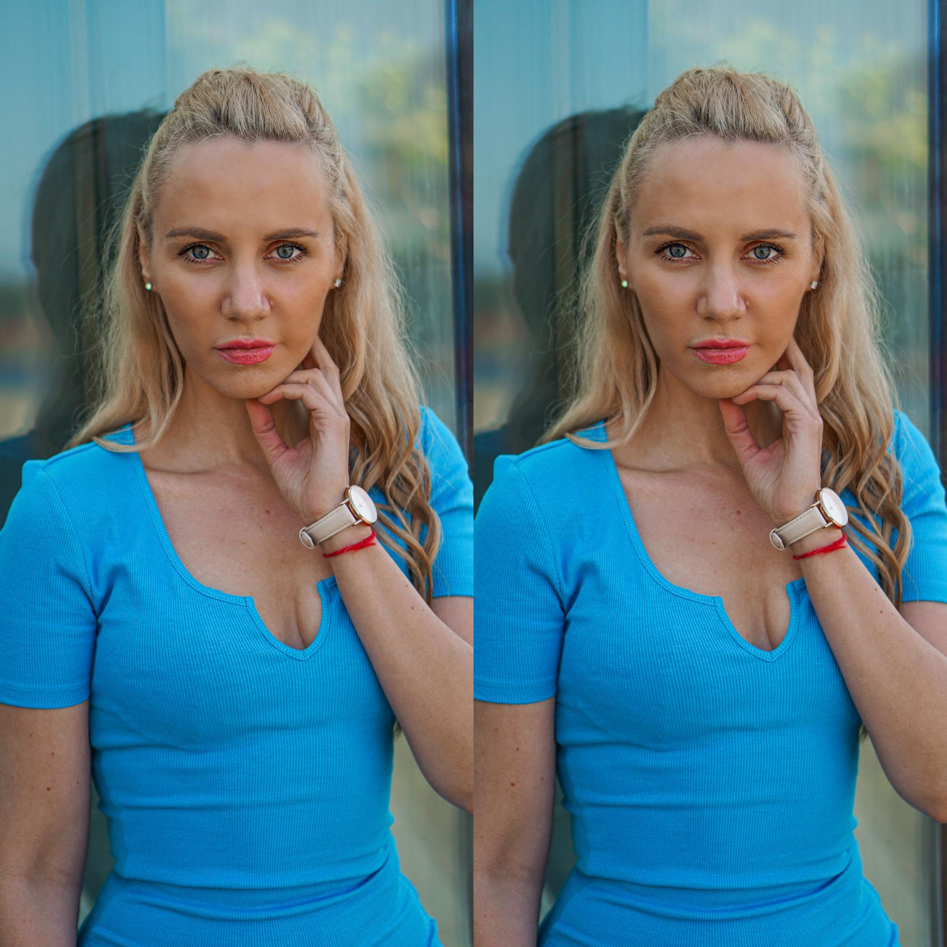 blå kjole portrait
