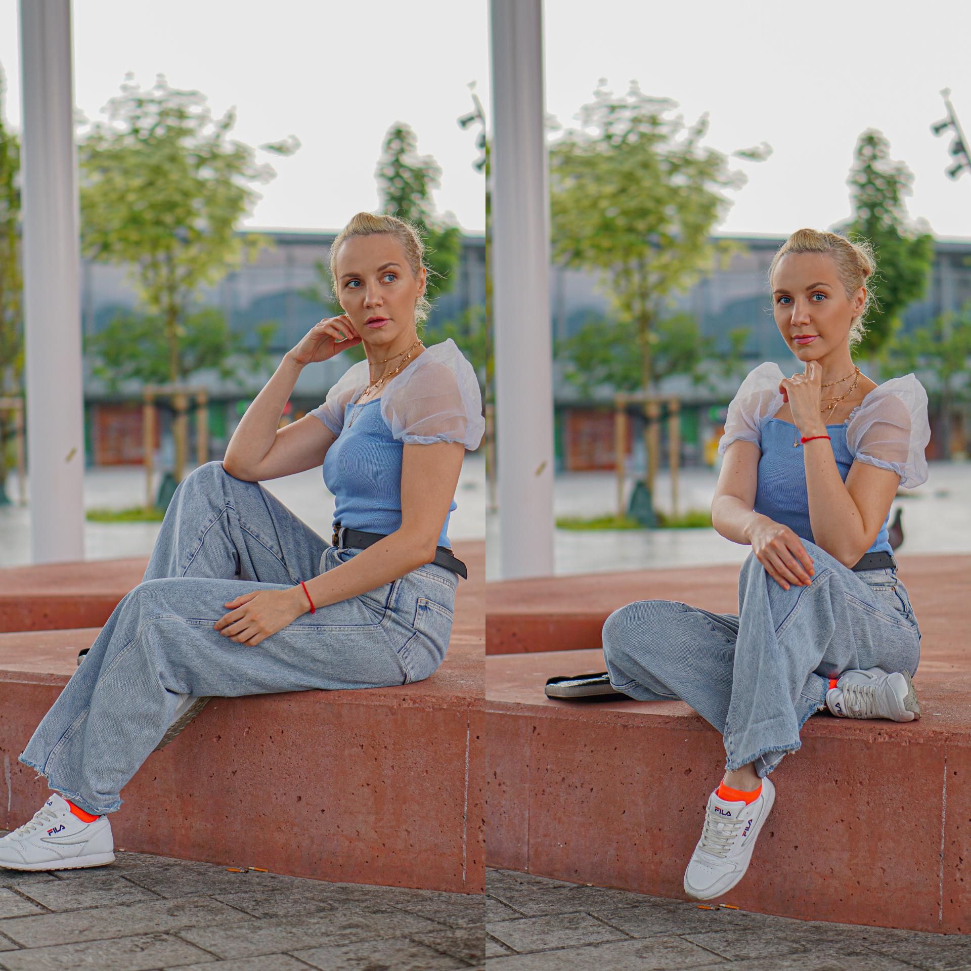 blå sett jeans