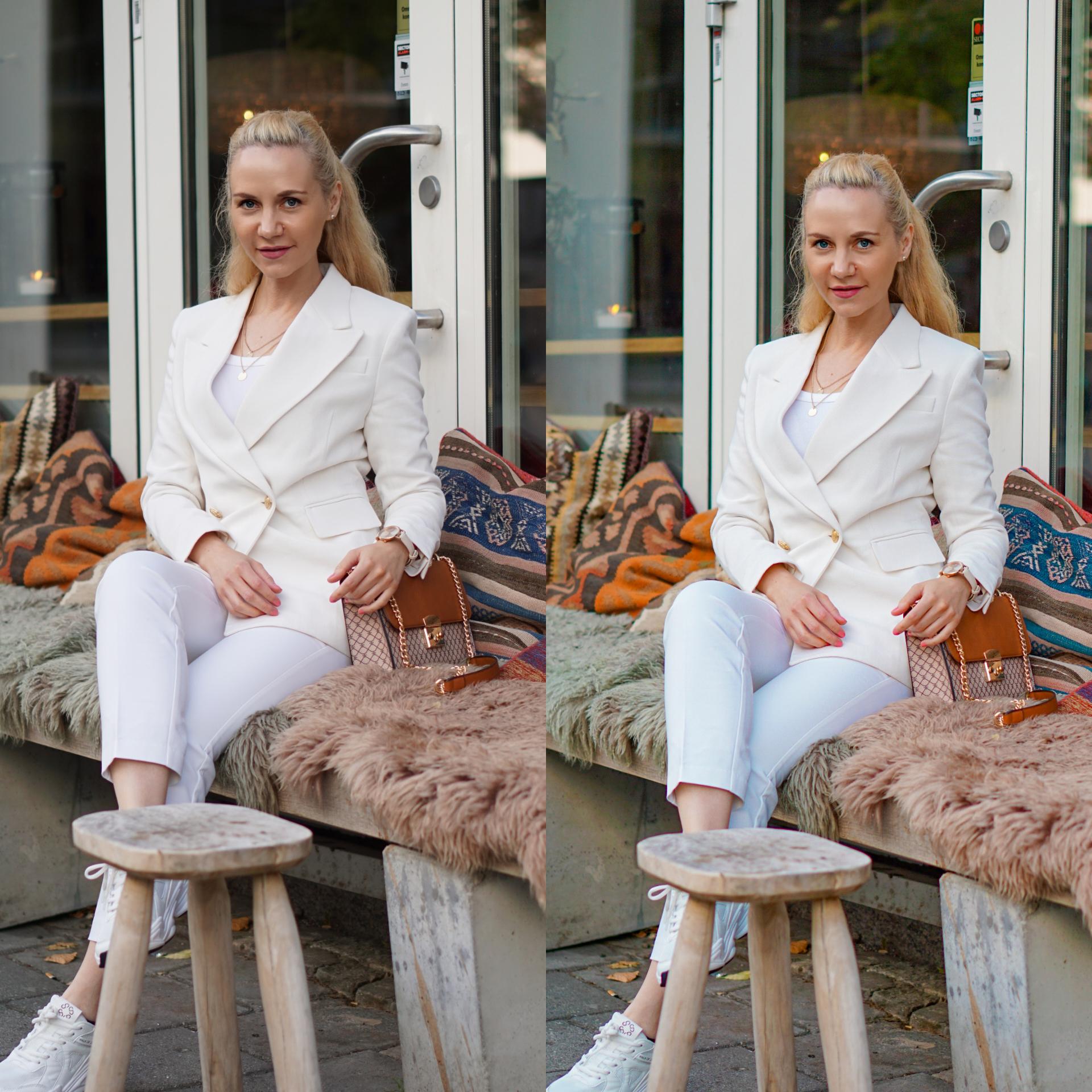 hvitt blazer