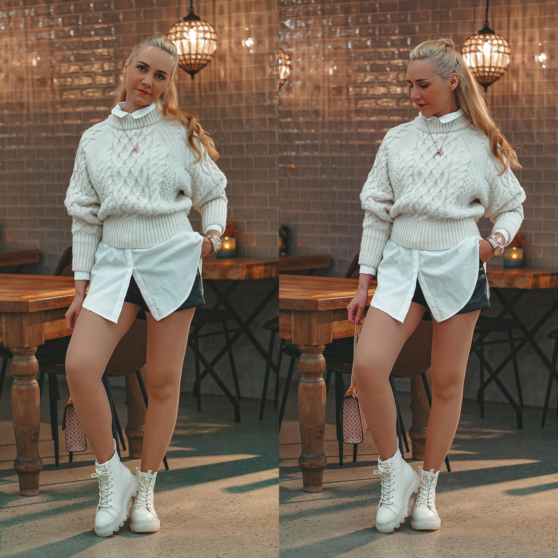 hvit genser kvadrat outfit