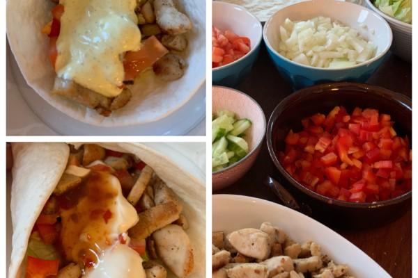 Middagstips: kyllingwraps på 2 måter + oppskrift på hj.laget karrisaus