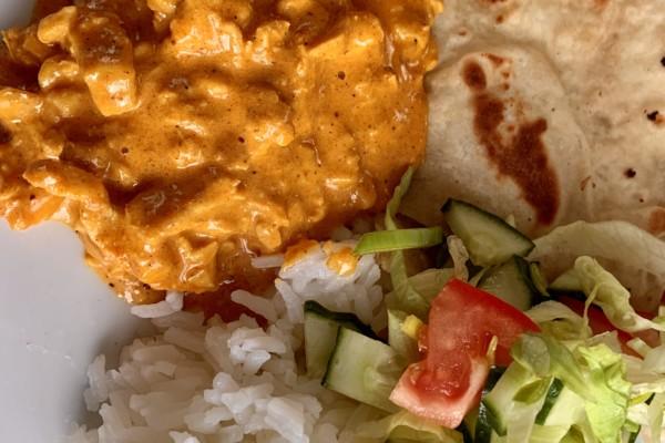 Butter chicken: Original Indisk rett på menyen. En rett gitt til meg av en Indisk dame bosatt i Sør-Afrika