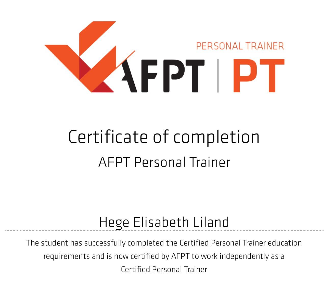 AFPT Personal Trainer - Sertifisering