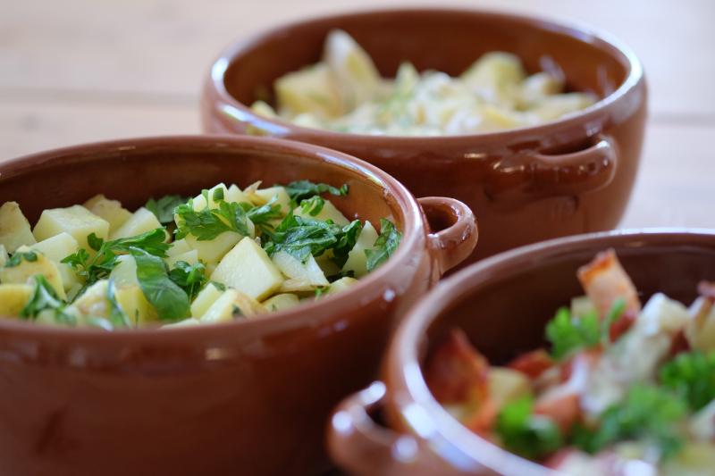 Tre forskjellige typer potetsalat