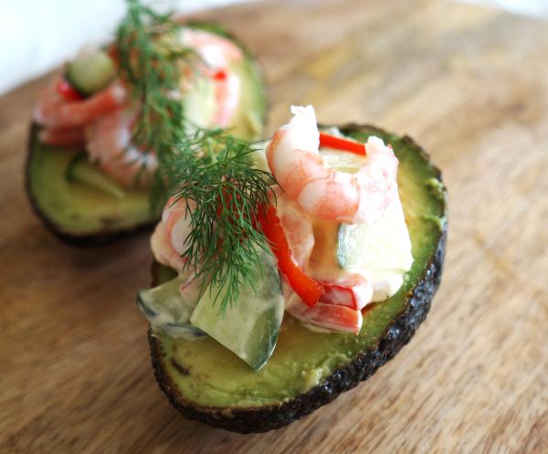 fylt avocado med reker