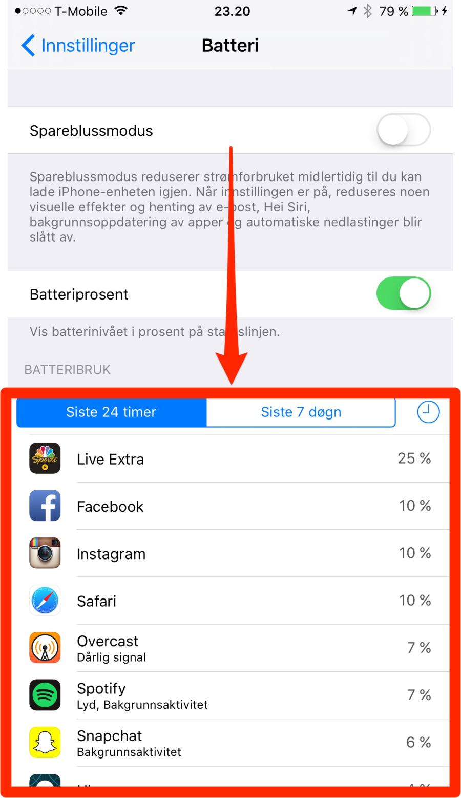 Bruk Spareblussmodus for å spare batteritiden på iPhone