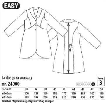 Frakke og vest 24022 Stof & Stil. Mønster til uld boucle