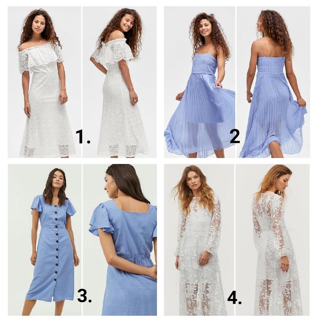 a7082812 Hvit kjole med volang 2. Blå kjole, Plissert 3. Blå kjole med knapper 4.  Hvit drømmekjole med broderinger