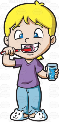 A boy with blonde hair, wearing a purple shirt, light blue pants and white bunny slippers, brushes his teeth using a red with white stripes toothbrush, left hand holding a glass of water