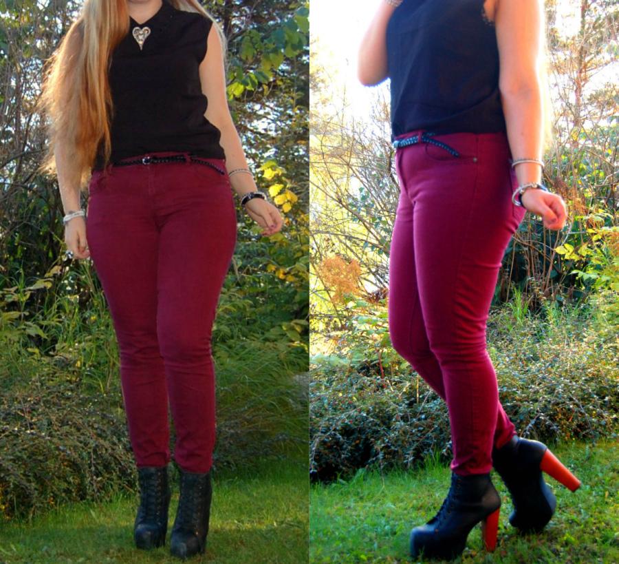 vinrød bukse