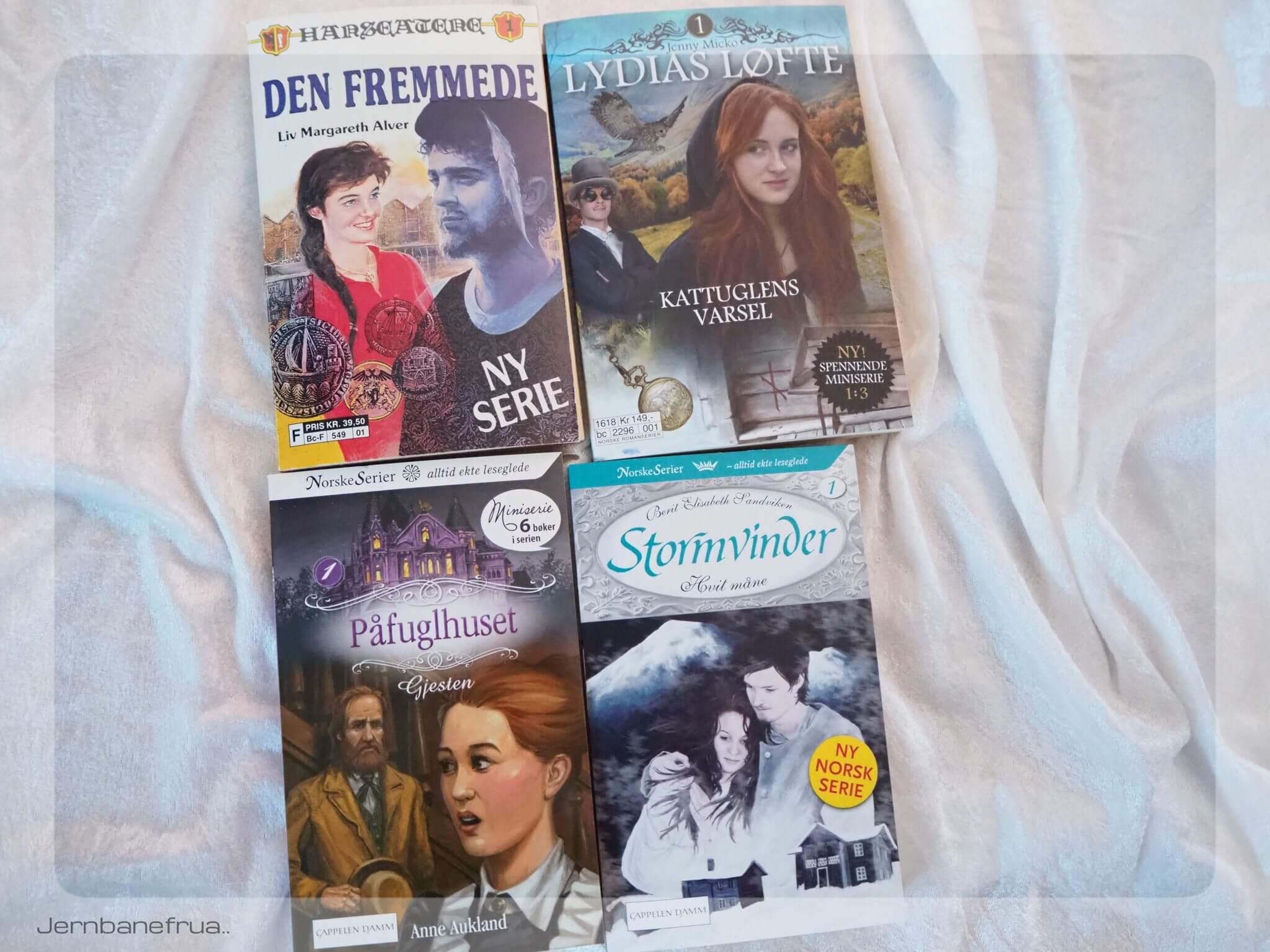 Jernbanefrua har fire serieromaner på vent. Hanseatene, lydias løfte, påfuglhuset og stormvinder.