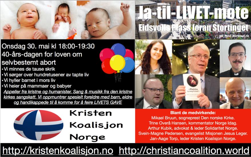 Ja til LIVET-møte på Eidsvolls Plass foran Stortinget. Imorgen er eksakt 40-årsdagen for abortloven i Norge. Flere skal tale