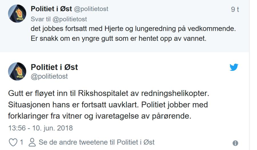 Gutt (9) er kritisk skadd etter en drukningsulykke i Fredrikstad