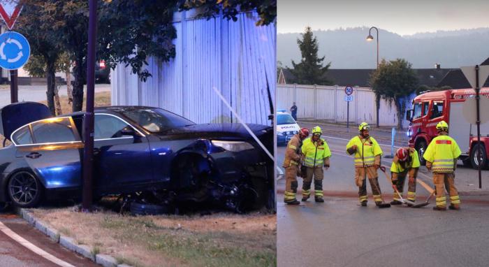 En ung mann kjørte rett i en vegg. Han kan ha vært påvirket av rus