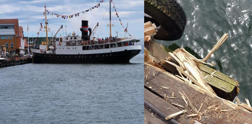Larvik-Blogger ble vitne til at turistbåten Kysten kolliderte med brygga