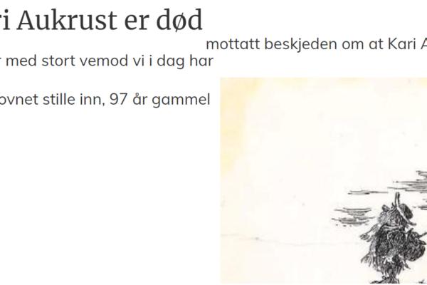 Kari Aukrust, kona til den avdøde Flåklypa-forfatteren Kjell Aukrust, er død