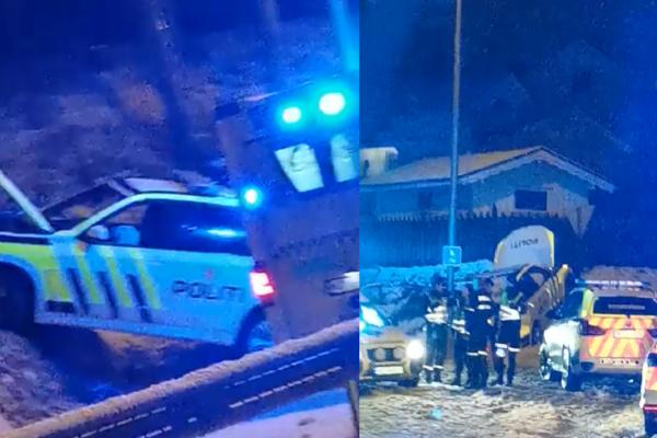Politiet havnet i grøfta da de rykket ut til togulykken. En mann i 30-årene omkom i togulykken tirsdag kveld ved Vikersund jernbanestasjon