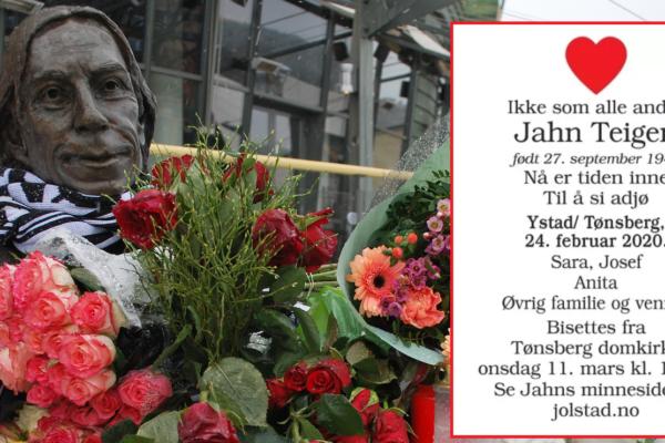 Jahn Teigen bisettes i Tønsberg domkirke onsdag 11.mars. Nåer dødsannonsen hans gjort kjent