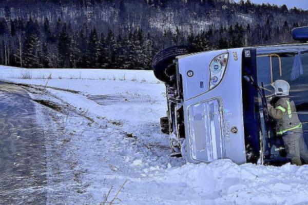 En skolebuss sklidde av veien