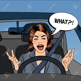 Angry Woman Driver. Aggressive Woman Driving Car. Pop Art. Vector illustration