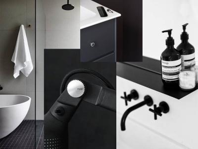 954ac9f7 Vi snakker store mørkegrå fliser på gulvet, mindre mørkegrå fliser i  dusjsonen, grå vegger og detaljer i grått, svart og hvitt.
