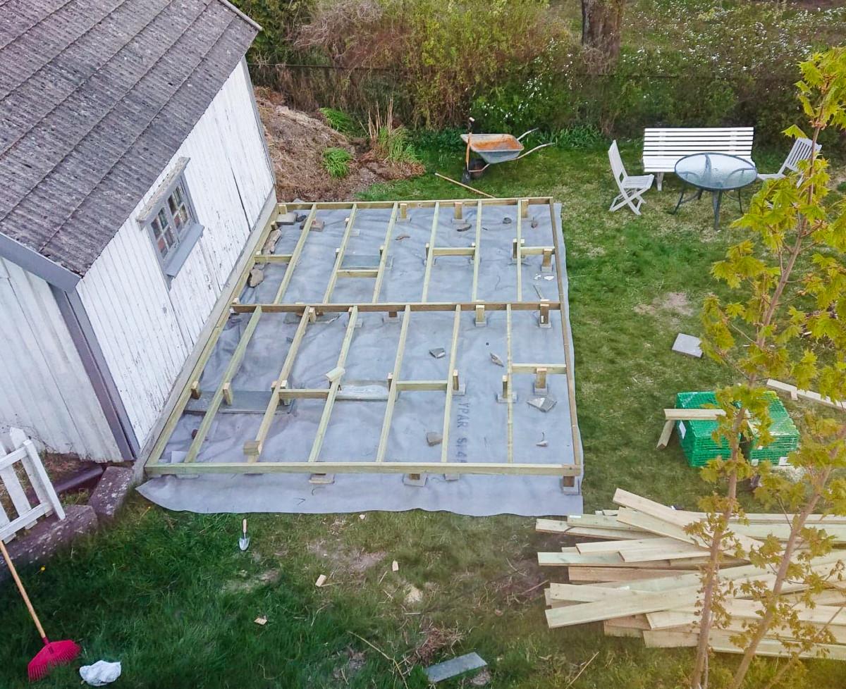 Bygging av platting i fugleperspektiv