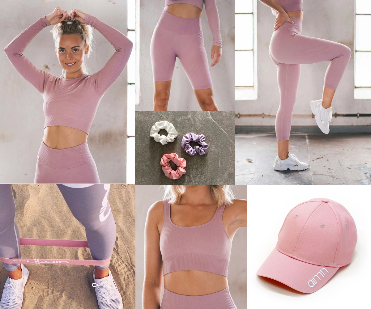 Collage med rosa treningsklær