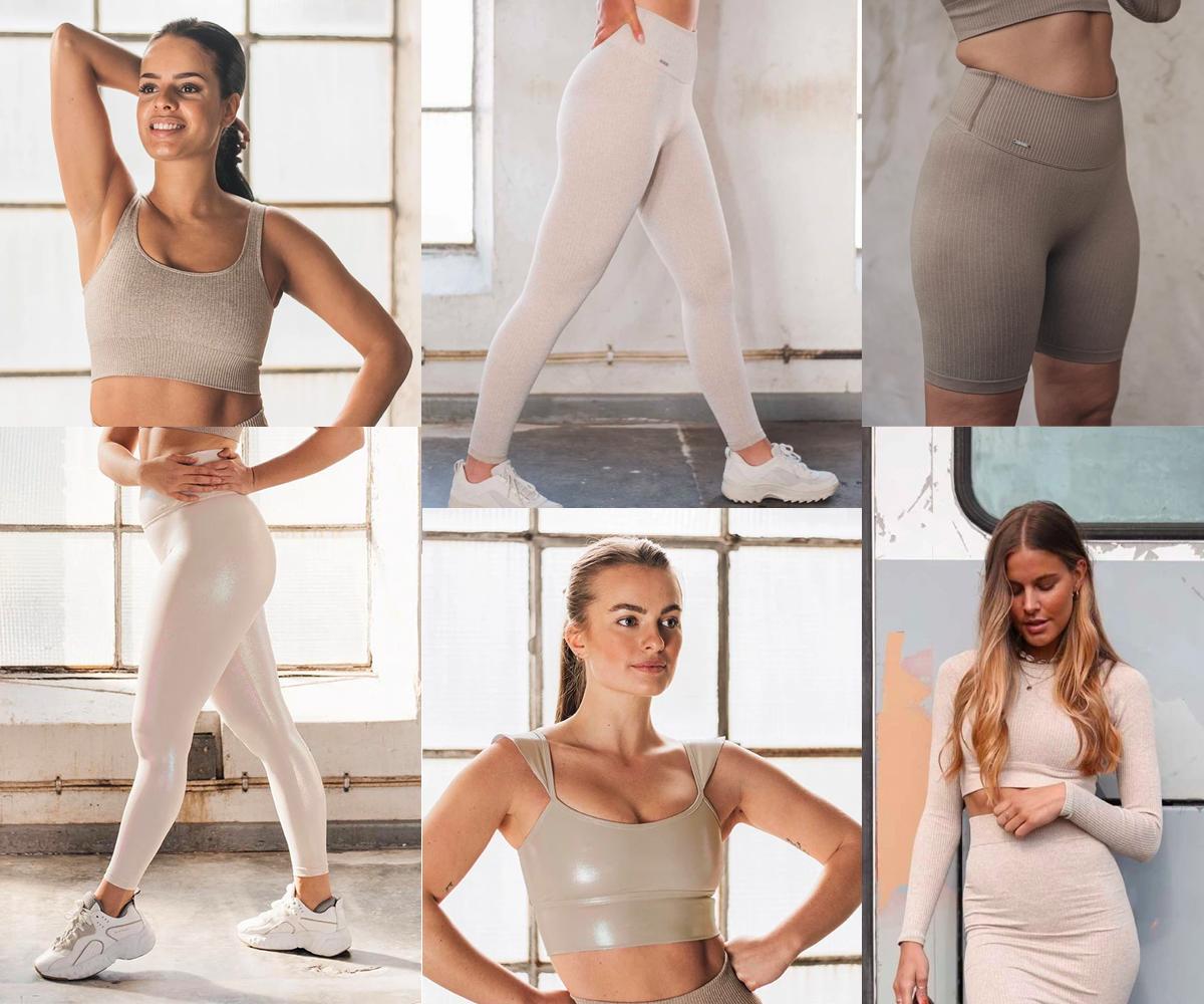 Collage med beige treningsklær