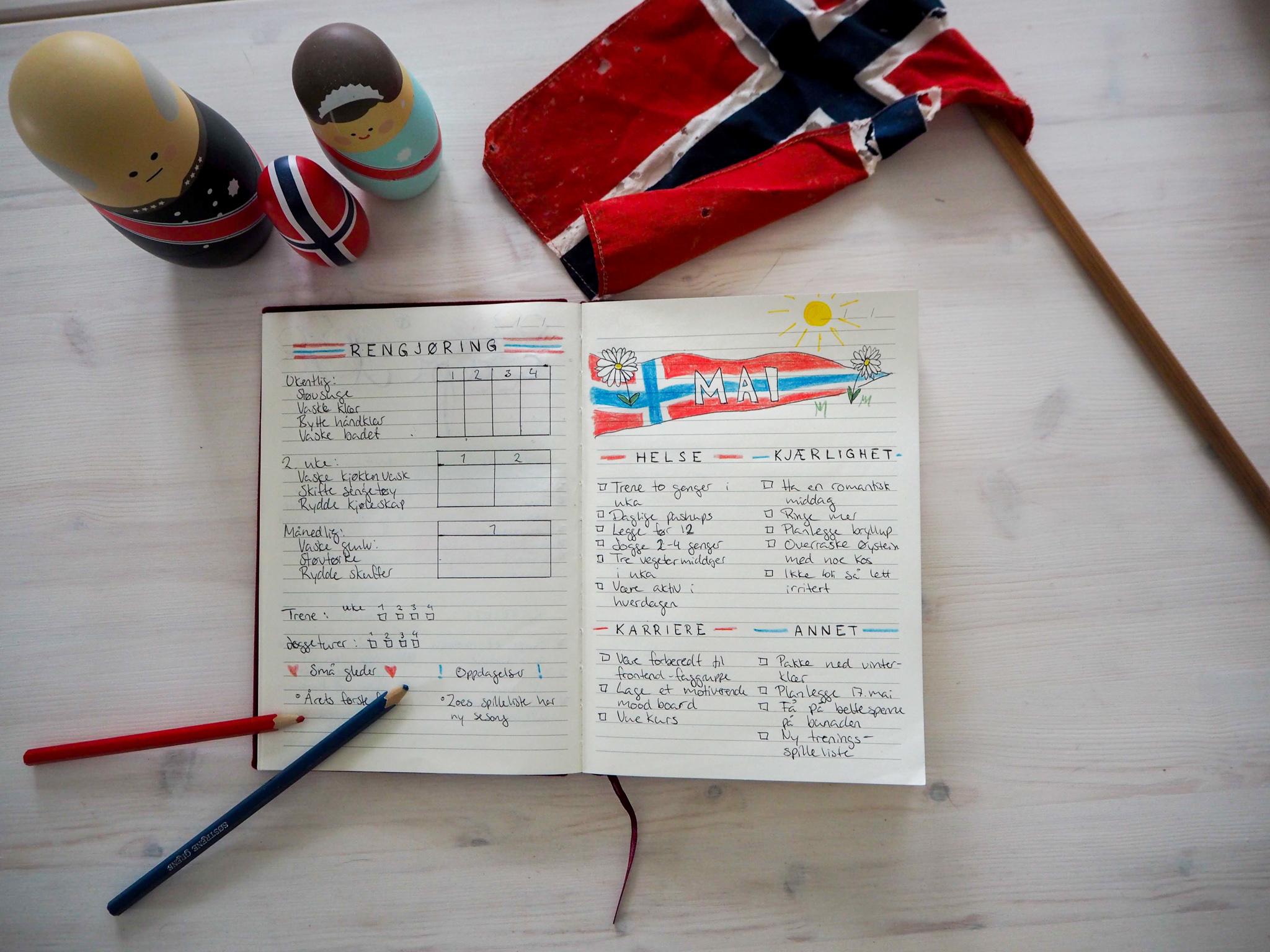 Bullet journal: mål for mai