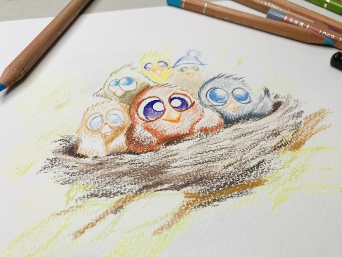 Fugler rede dyr tegning kunst fra Bergen