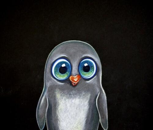 Pingvin tegning fargeblyant illustrasjon Søte dyr Miriam Haukebø