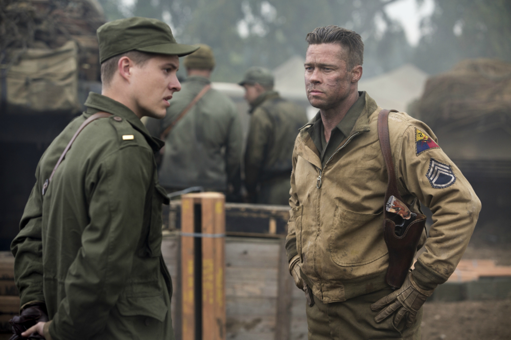 Wardaddy (Brad Pitt) gets his new orders from Lieutenant Parker (Xavier Samuel) in Columbia Pictures' FURY.