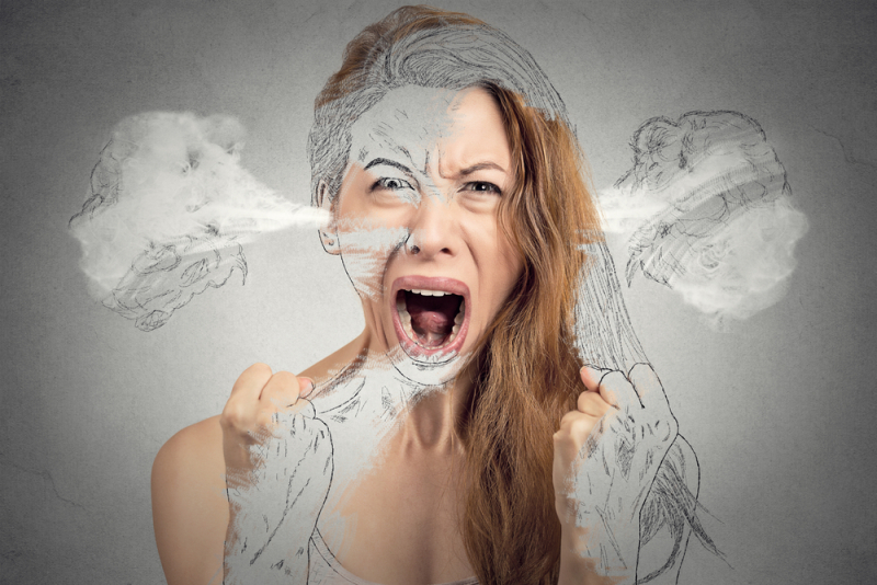 Closeup portrait angry young woman blowing steam coming out of ears having nervous breakdown hysterical screaming isolated grey background. Negative human emotion facial expression feeling attitude