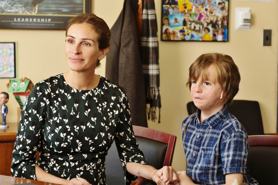 Julia Roberts as ?Isabel? and Jacob Tremblay as ?Auggie? in WONDER. Photo by Dale Robinette.