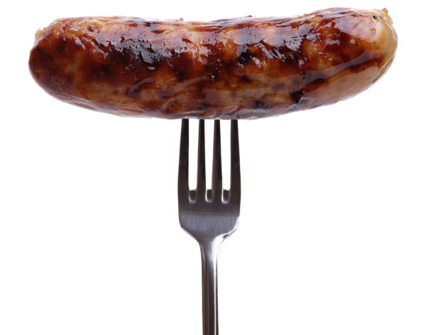 Grilled sausage on a fork against white background