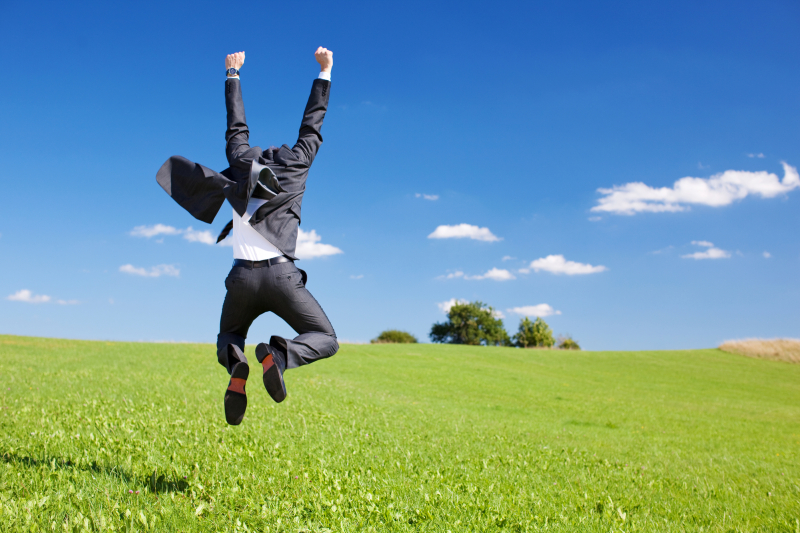 Businessman jumping for joy celebrating a successful achievement in a lush green field under a blue sky