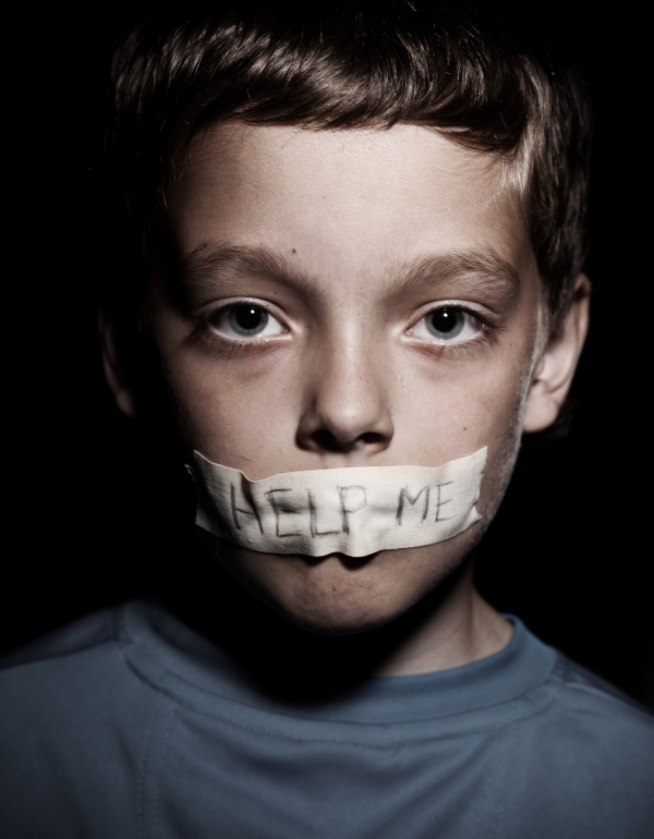 Teen with taped mouth, begging for help. Sad, abuse boy. Violence, despair.