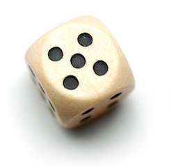 Dice showing 1, 2, 3, 4, 5, and 6 dots isolated on white.