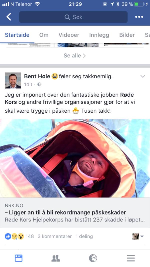 d72c415fccb (Printscreen/Faksimile av Bent Høies facebook-side, Bent Helsemista Høie  ligger i pulken.)