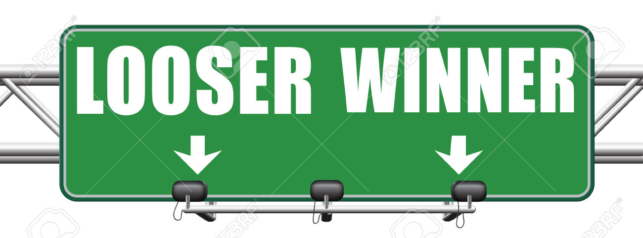 winner looser win or loose the sports game or competition start winning and stop being a looser change your luck sign lottery bingo or casino victory road sign arrow