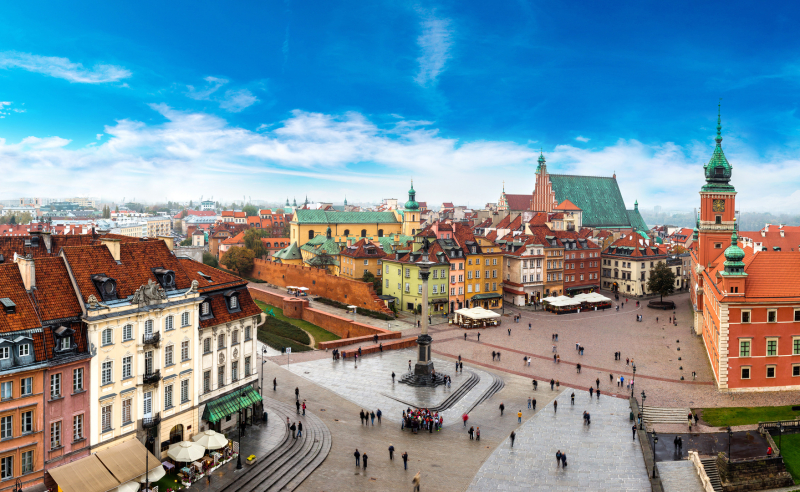 Panoramic view of Warsaw in a summer day n Poland
