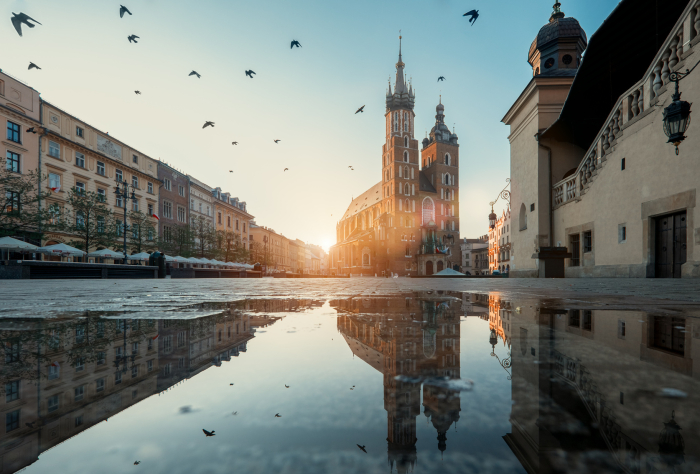 Market square and St. Mary's Basilica in Krakow, Poland.,