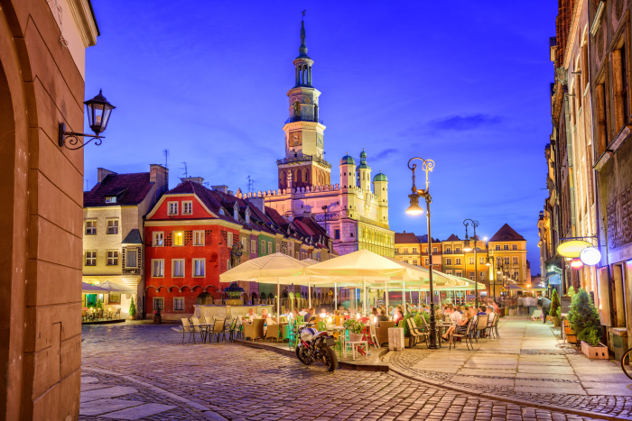 Main square of the old town of Poznan, Poland on a summer day evening.