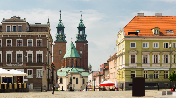 View of Gniezno streets and building historical center, old town in Poland