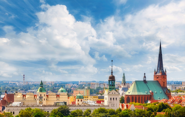 Panoramic view of Szczecin City downtown, Poland.